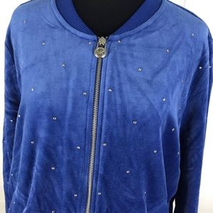 MICHAEL Michael Kors Blue Velvet Full Zip Jacket
